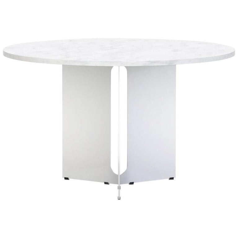 """Trilo Round Table 48"""",  Carrara Marble For Sale"""