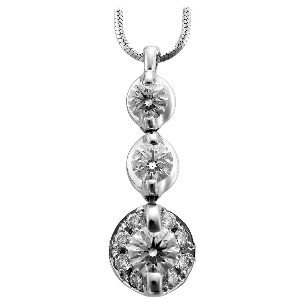 Trilogy 0.50 Carat / 0.50 Carat Diamond Platinum Pendant Necklace