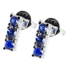 Trilogy Blue Sapphire Earrings in 18 Karat White Gold Handmade in Italy