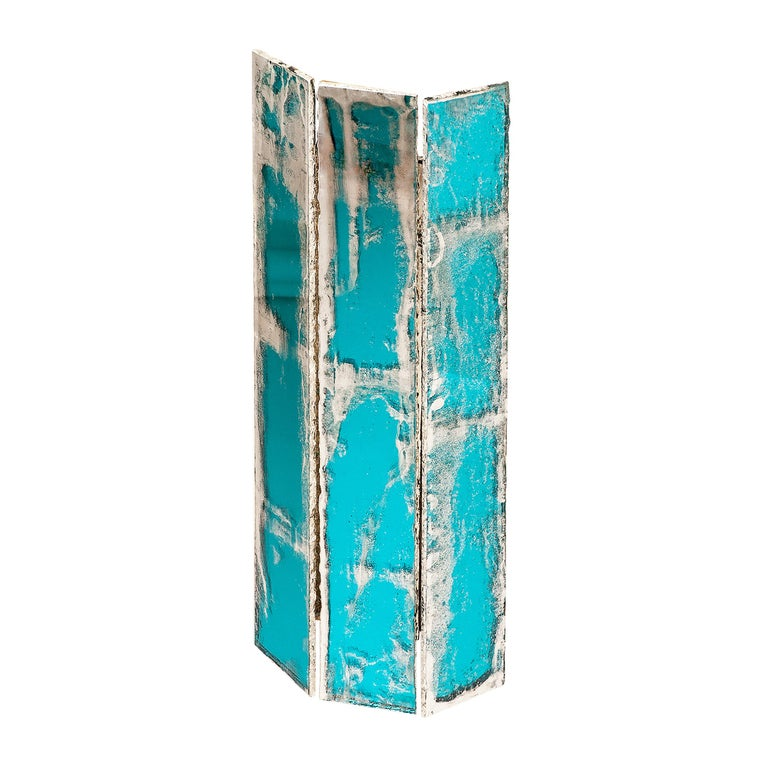 """""""Trilogy"""" Contemporary Wall lamp, aquamarine Silvered Glass For Sale"""