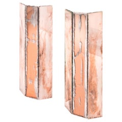 """Trilogy"" Contemporary Wall Lamp, Rose Silvered Glass"