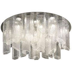 Trim 7319 Ceiling Lamp in Glass with Polished Chrome Finish, by Barovier&Toso