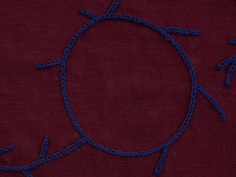 Indian Trim, Hand Embroidered Burgundy Throw Blanket For Sale