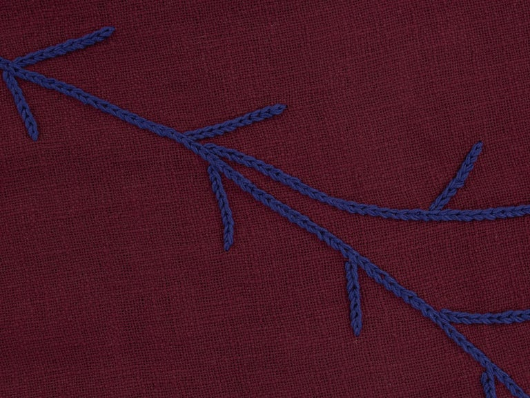Needlework Trim, Hand Embroidered Burgundy Throw Blanket For Sale