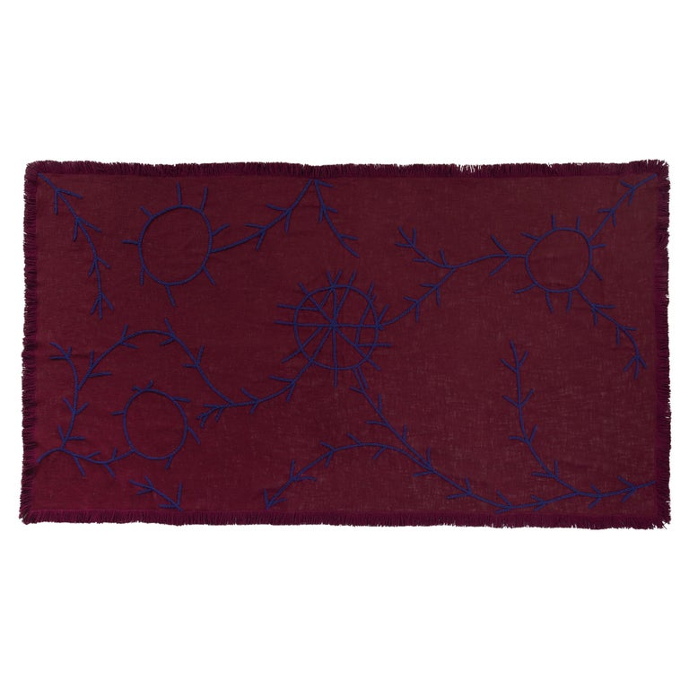 Trim, Hand Embroidered Burgundy Throw Blanket For Sale