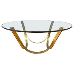 TriMark Brass-Plated Steel & Glass Coffee Table after Sprunger for Dunbar, 1970s