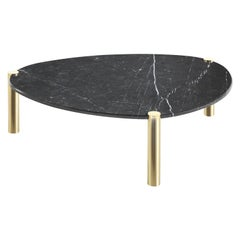 Trinidad Side Table with Metal Legs and Black Marble Top by Roberto Cavalli