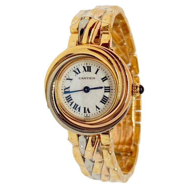 Trinity Cartier Lady's Watch On Bracelet 18K Tri-Tone Gold Quartz