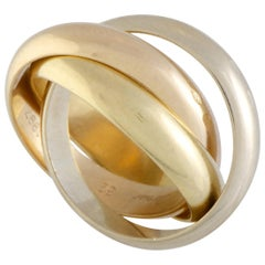 Trinity de Cartier 18 Karat Yellow White and Rose Gold Rolling Three Band Ring