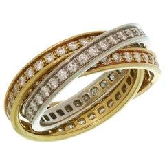 Trinity De Cartier Diamond Tri-Gold Band Ring
