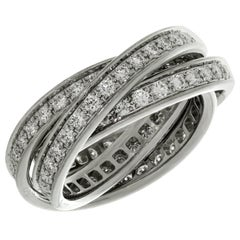 Trinity de Cartier Diamond White Gold Band Ring Certificate
