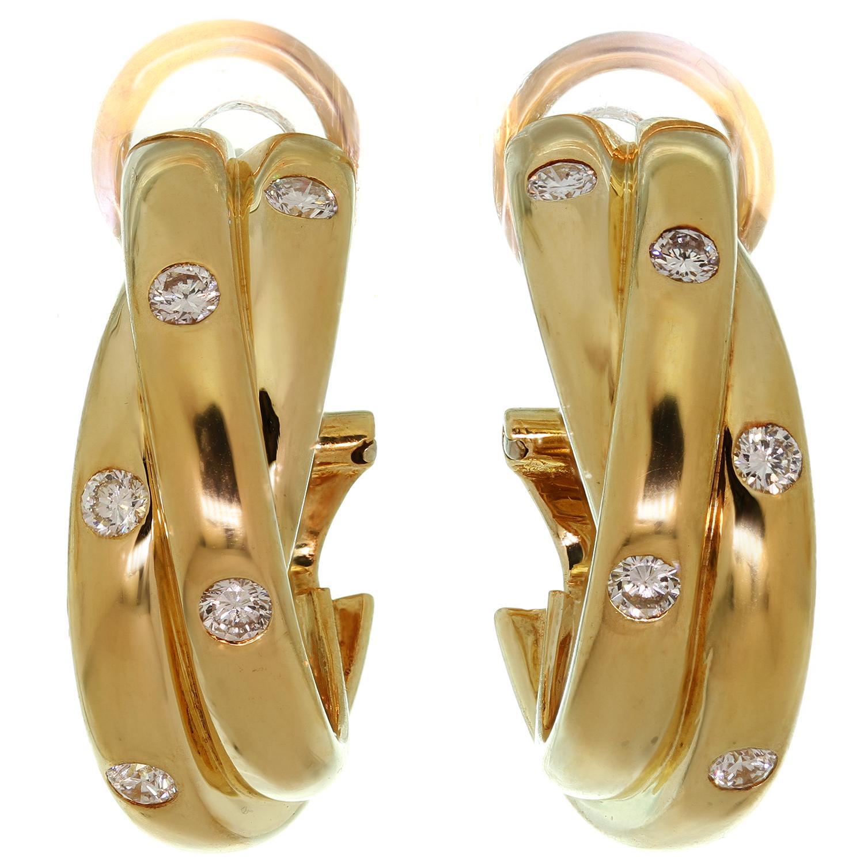 Trinity de Cartier Diamond Yellow Gold Hoop Earrings