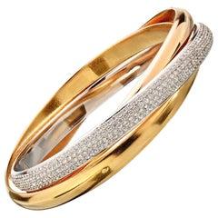 "Trinity de Cartier ""One"" 18K Tri-Color Gold Vintage Diamond Bangle"