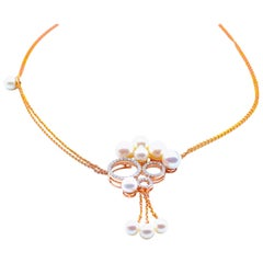 Trinity Diamond Pearl Necklace in 18 Karat Rose Gold