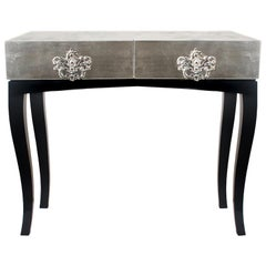 Trinity Nightstand in Mahogany Wood and Silver or Copper Leaf
