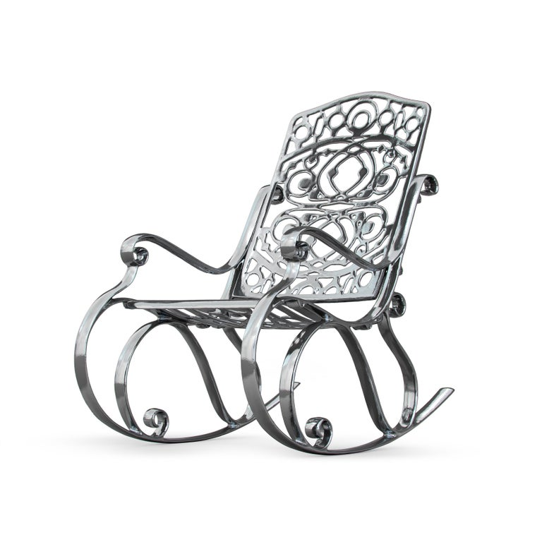 Modern In Stock in Los Angeles, Trinity, Outdoor Aluminum Rocking Chair & Chrome Finish For Sale
