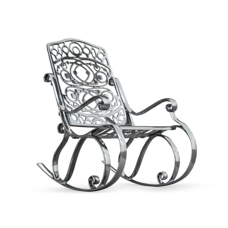 Italian In Stock in Los Angeles, Trinity, Outdoor Aluminum Rocking Chair & Chrome Finish For Sale