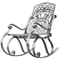 Trinity, Outdoor Aluminum Rocking Chair with Chrome Finish, Made in Italy