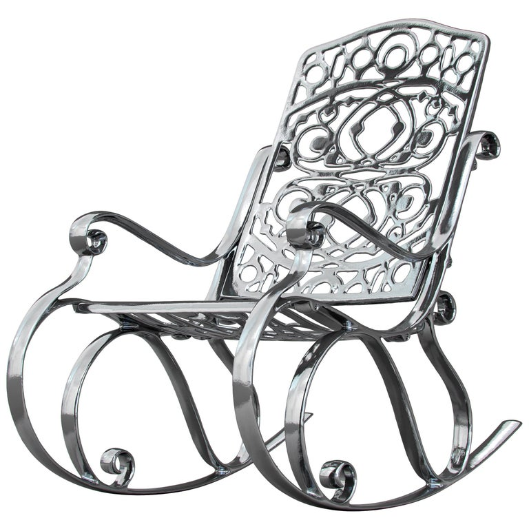 In Stock in Los Angeles, Trinity, Outdoor Aluminum Rocking Chair & Chrome Finish For Sale