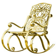 Trinity, Outdoor Aluminum Rocking Chair with Gold Finish, Made in Italy