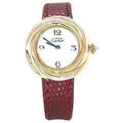 Trinity Tri Color Must Cartier Vermeil Watch with Diamond Crown