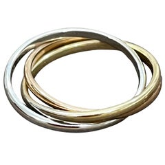 Trinity Tri-Color White, Yellow Gold and Rose, 14 Karat Gold Rolling Rings Italy