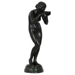 """Trinkender Frauenakt"" Art Nouveau Antique Bronze Sculpture by Victor Seifert"