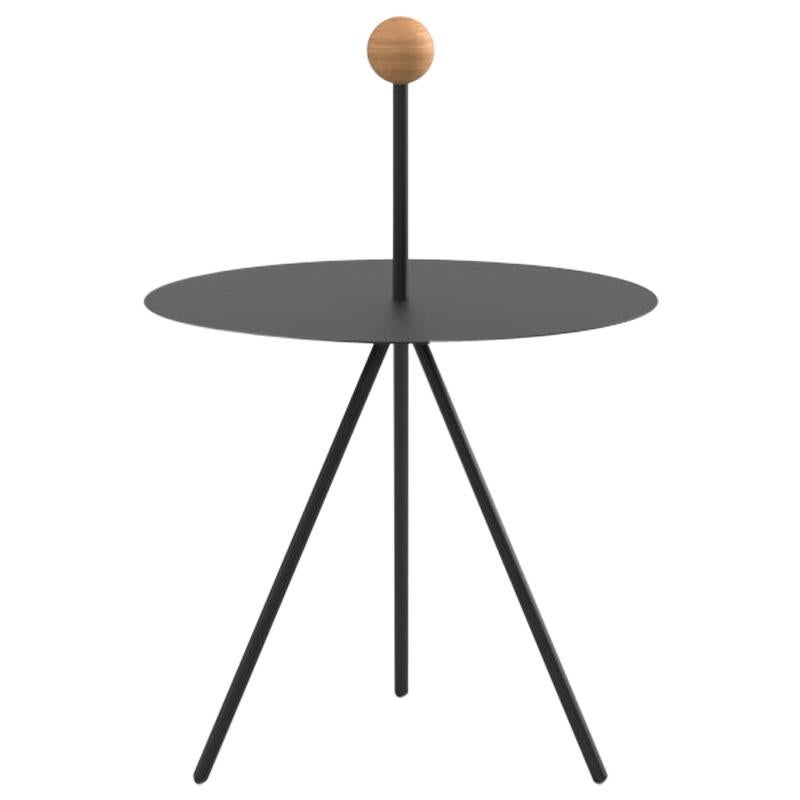 Viccarbe Trino Coffee Table, Black Finish with Oak Handle by Elisa Ossino