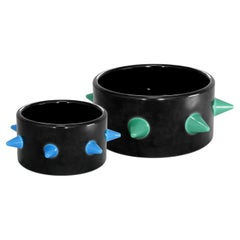 Trio Black and Green Pet Bowl, Luxury Ceramic Bowl for Dogs and Cats Food/Water