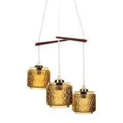 Trio Glass with Teak Light Fixture 1960s Scandinavian Midcentury Design