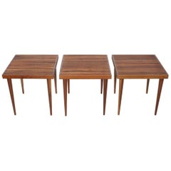 Trio Mel Smilow Slat Stacking Tables, 1950's