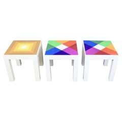 Trio Mod Pop Art Plastic Parsons Style Square Side Tables Style Kartell or Syroc
