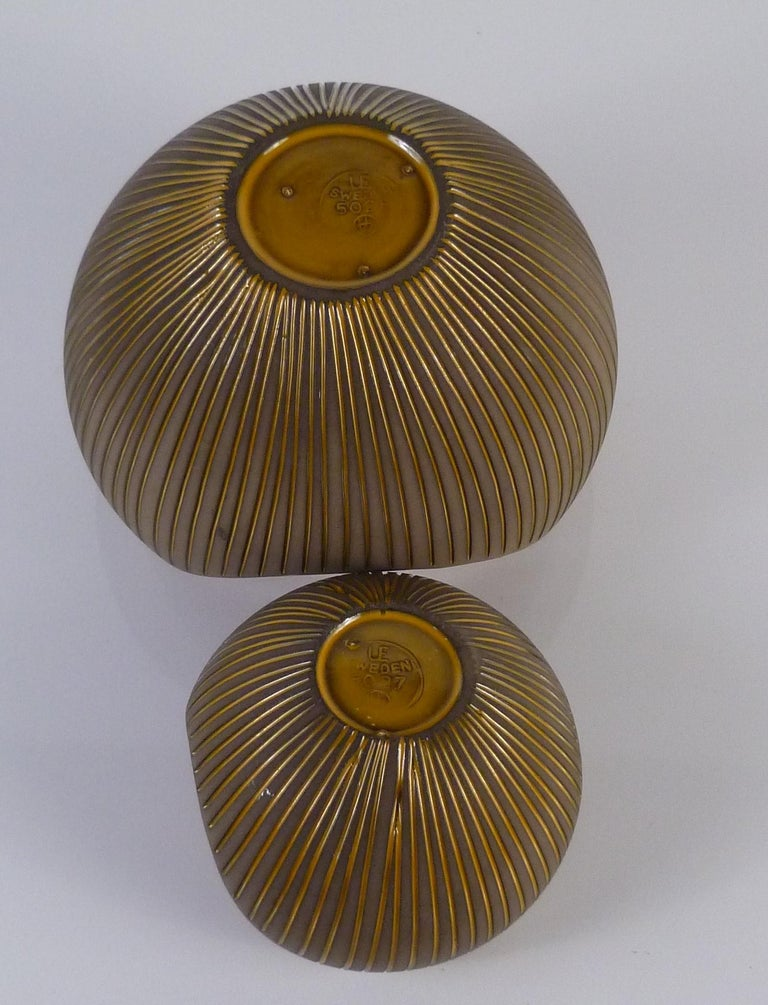 Mid-20th Century Trio Modern Kokos / Coconuts Vases by Hjordis Oldfors, Upsala-Ekeby, Sweden 1954 For Sale