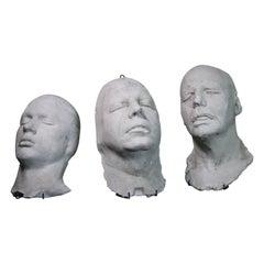 Trio of 19th Century Macabre Plaster Death Masks Memento Mori