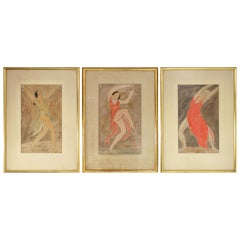 Trio of Abraham Walkowitz Isadora Duncan Watercolors, circa 1920s
