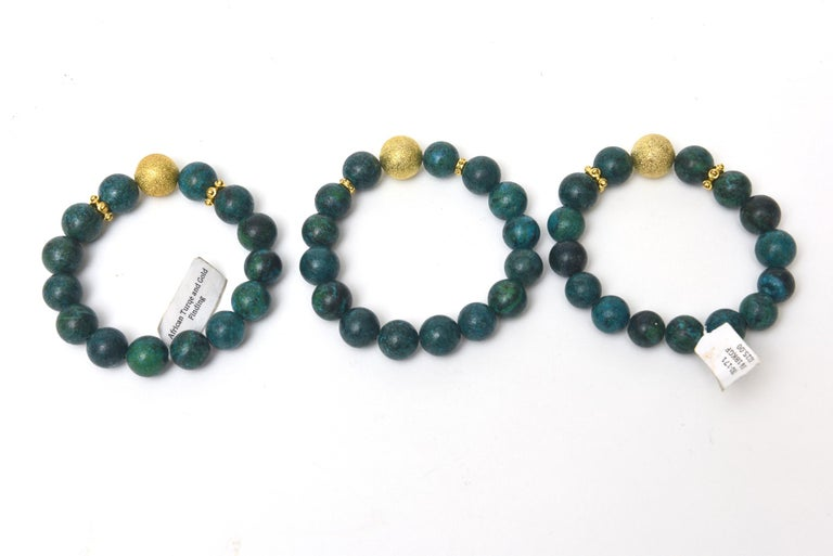 Modern Trio of African Turquoise Beaded and Gold Filled Bracelets For Sale