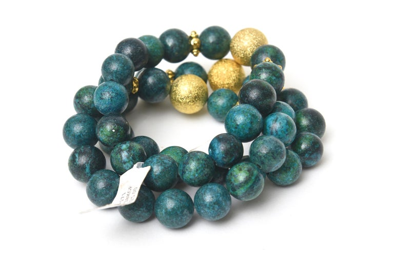 Trio of African Turquoise Beaded and Gold Filled Bracelets In New Condition For Sale In North Miami, FL