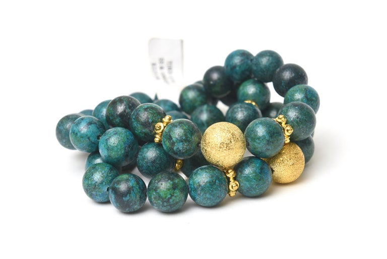 Women's or Men's Trio of African Turquoise Beaded and Gold Filled Bracelets For Sale