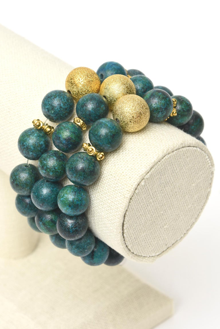 Trio of African Turquoise Beaded and Gold Filled Bracelets For Sale 1