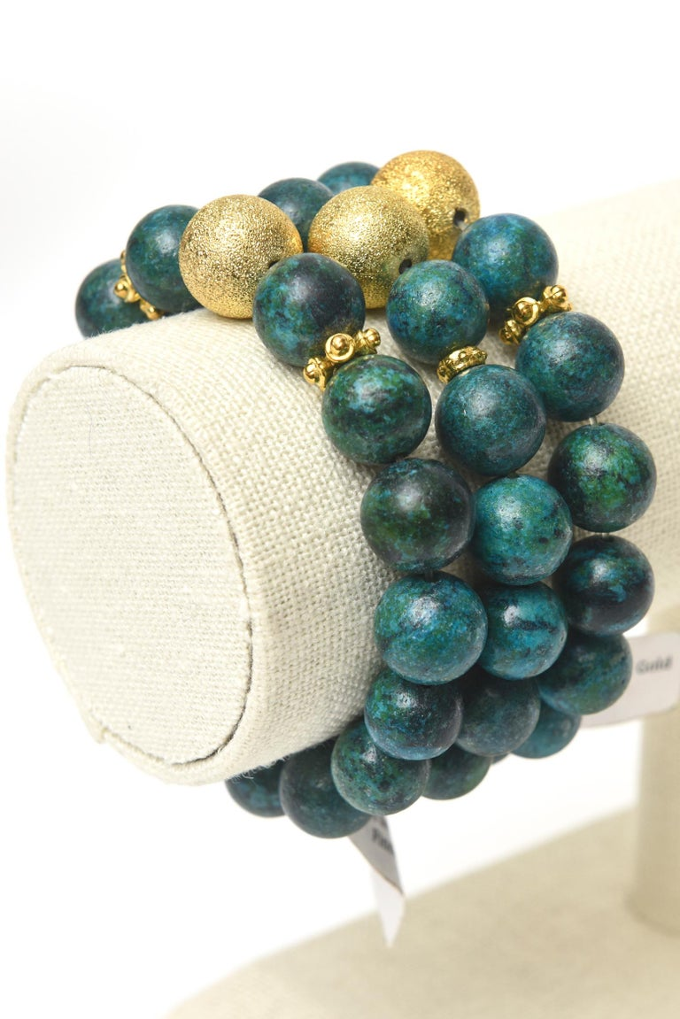 Trio of African Turquoise Beaded and Gold Filled Bracelets For Sale 2