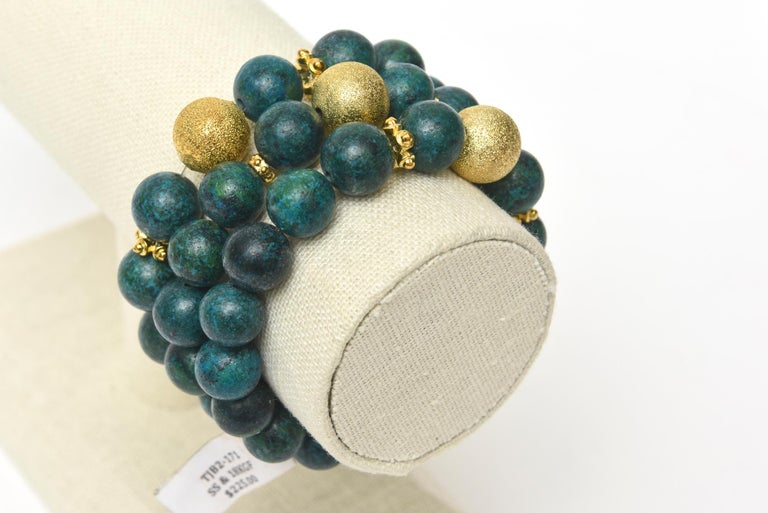 Trio of African Turquoise Beaded and Gold Filled Bracelets For Sale 3