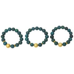 Trio of African Turquoise Beaded and Gold Filled Bracelets