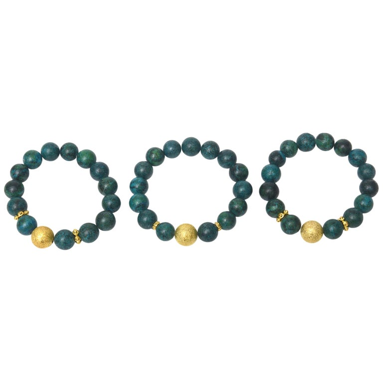 Trio of African Turquoise Beaded and Gold Filled Bracelets For Sale