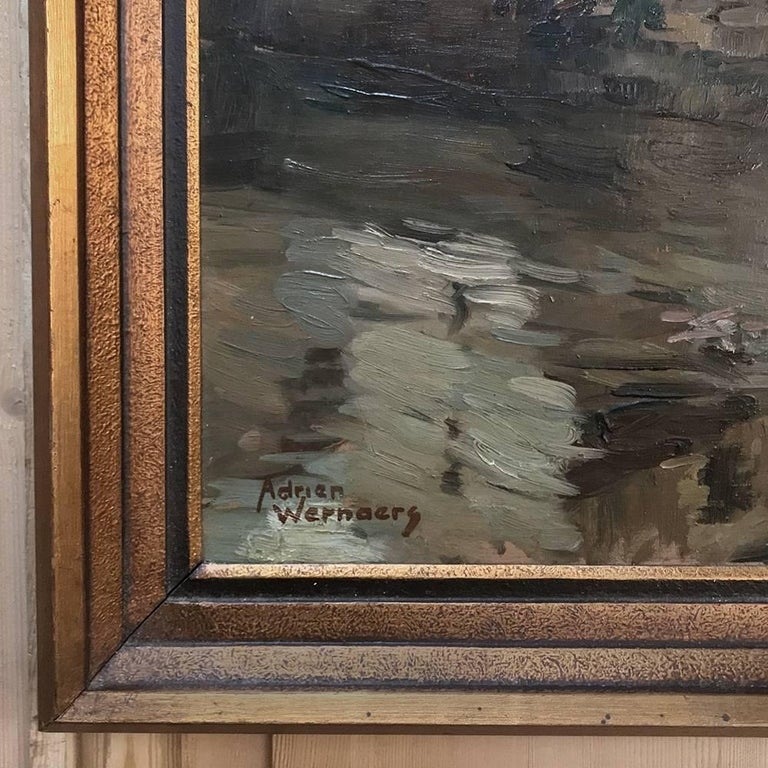 Trio of antique oil paintings on canvas by Adrien Wernaers (1899-1977) represents three wonderful rustic cityscapes with subtle coloration and splendid composition. Typical of the artist's work, each showcases the intriguing perspective of village