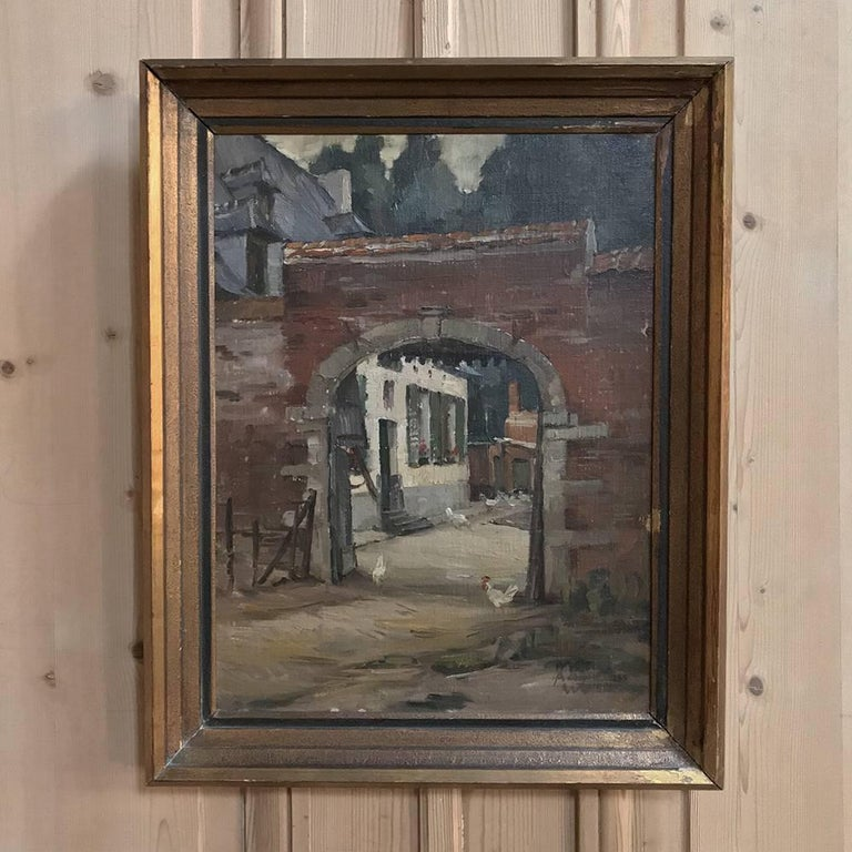 Rustic Trio of Antique Oil Paintings on Canvas by Adrien Wernaers For Sale