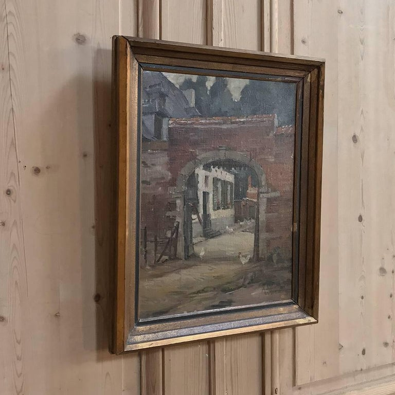 Hand-Painted Trio of Antique Oil Paintings on Canvas by Adrien Wernaers For Sale