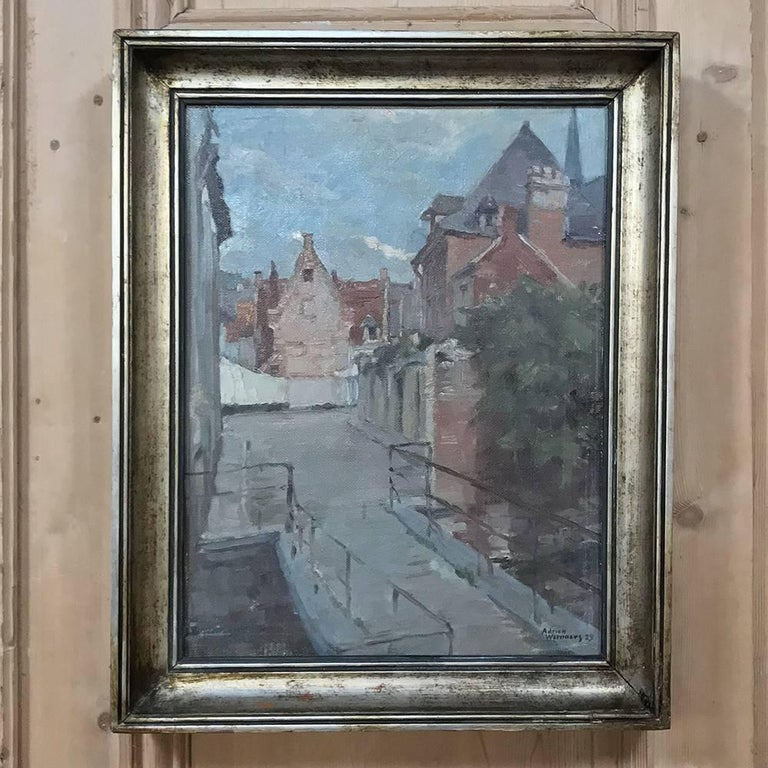 Trio of Antique Oil Paintings on Canvas by Adrien Wernaers In Good Condition For Sale In Dallas, TX
