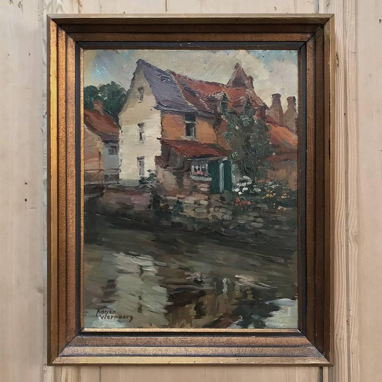 Trio of Antique Oil Paintings on Canvas by Adrien Wernaers For Sale 2