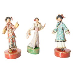 Trio of Asian Costumed Women Sculptures by Lee Menichetti