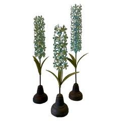 Trio of Blue Hyacinth Metal Sculptures